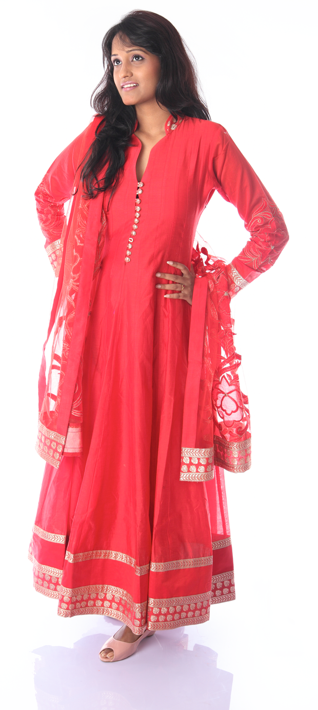 SIGNORAA RED CHANDERI COTTON READY-TO-WEAR SALWAR SUIT-SLW03101 - vIEW 1