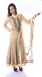 SIGNORAA BEIGE NET READY-TO-WEAR SALWAR SUIT-SLW03099 - Cover View