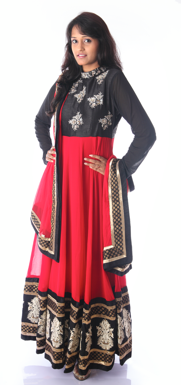 SIGNORAA BLACK AND RED GEORGETTE READY-TO-WEAR SALWAR SUIT-SLW03141 - View 1