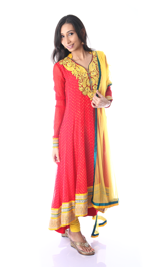 SIGNORAA PINK AND YELLOW GEORGETTE READY-TO-WEAR SALWAR SUIT-SLW03069- View 1