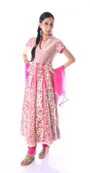 SIGNORAA PINK NET READY-TO-WEAR SALWAR SUIT-SLW03128 - View 1