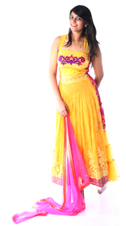 SIGNORAA YELLOW AND PINK NET READY-TO-WEAR SALWAR SUIT-SLW03056 - View 1