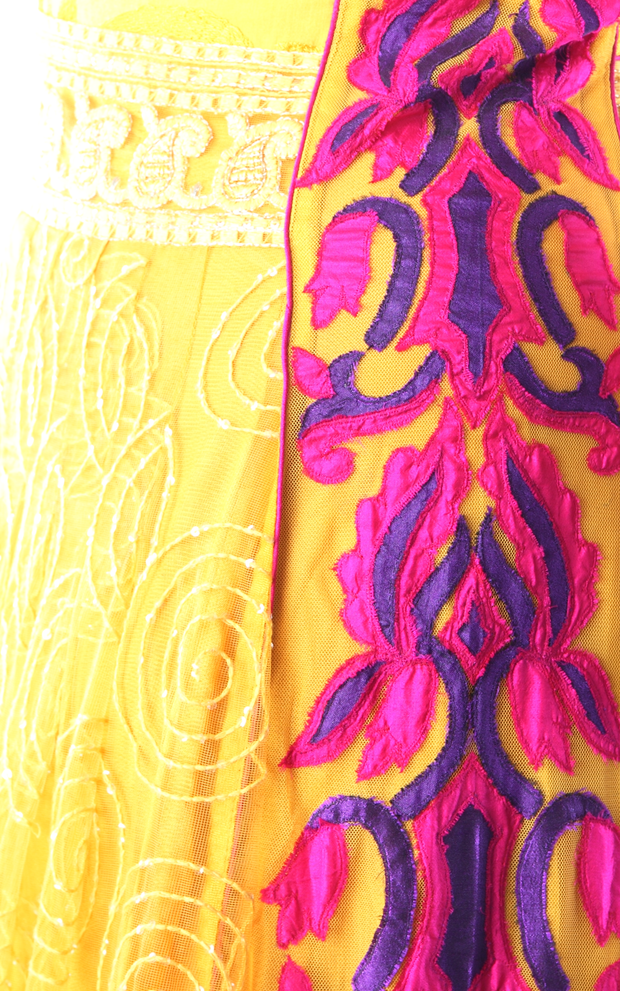 SIGNORAA YELLOW AND PINK NET READY-TO-WEAR SALWAR SUIT-SLW03056 - Design View