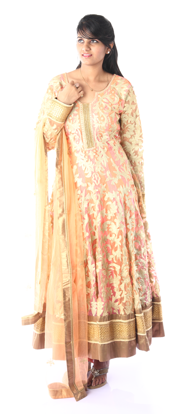 SIGNORAA PEACH NET READY-TO-WEAR SALWAR SUIT-SLW03094 - View 1