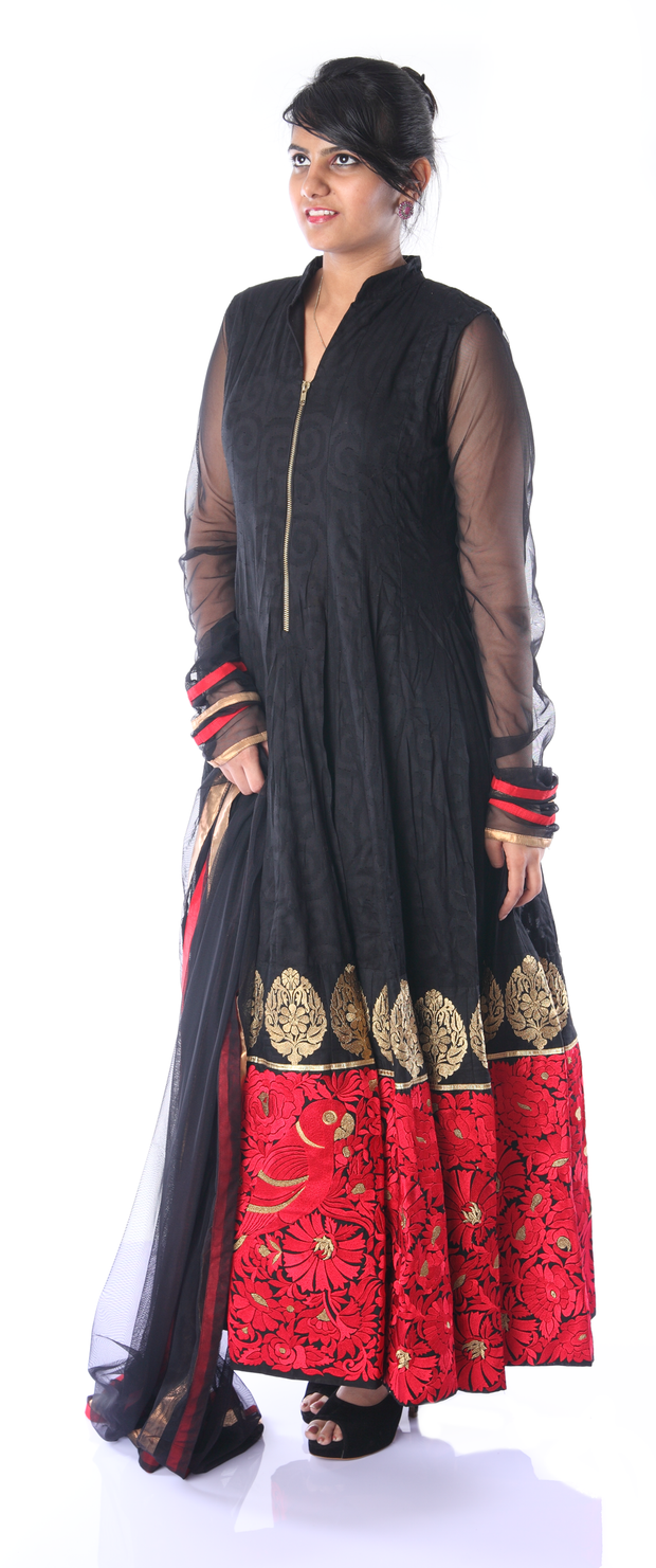 SIGNORAA BLACK COTTON READY-TO-WEAR SALWAR SUIT-SLW03100 - View 1