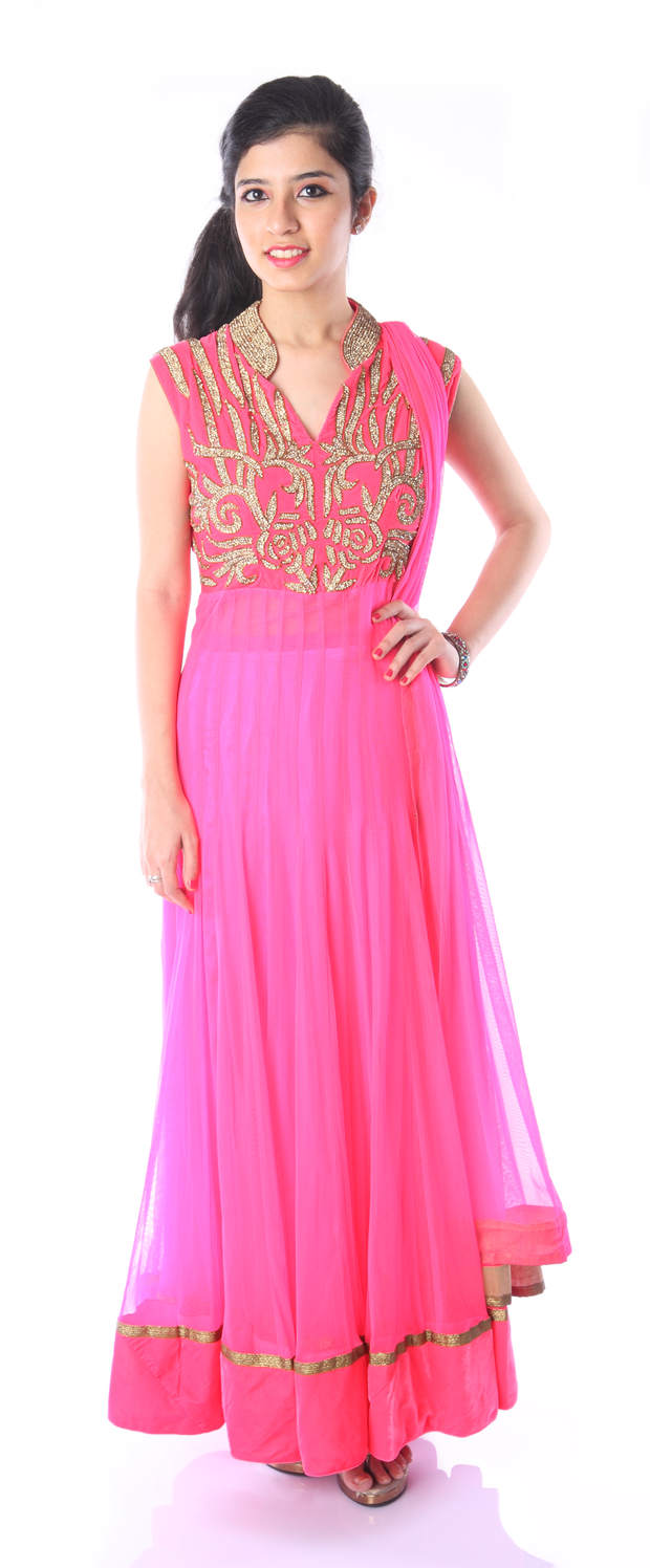 SIGNORAA NEON PINK NET READY-TO-WEAR SALWAR SUIT-SLW03168- View 1