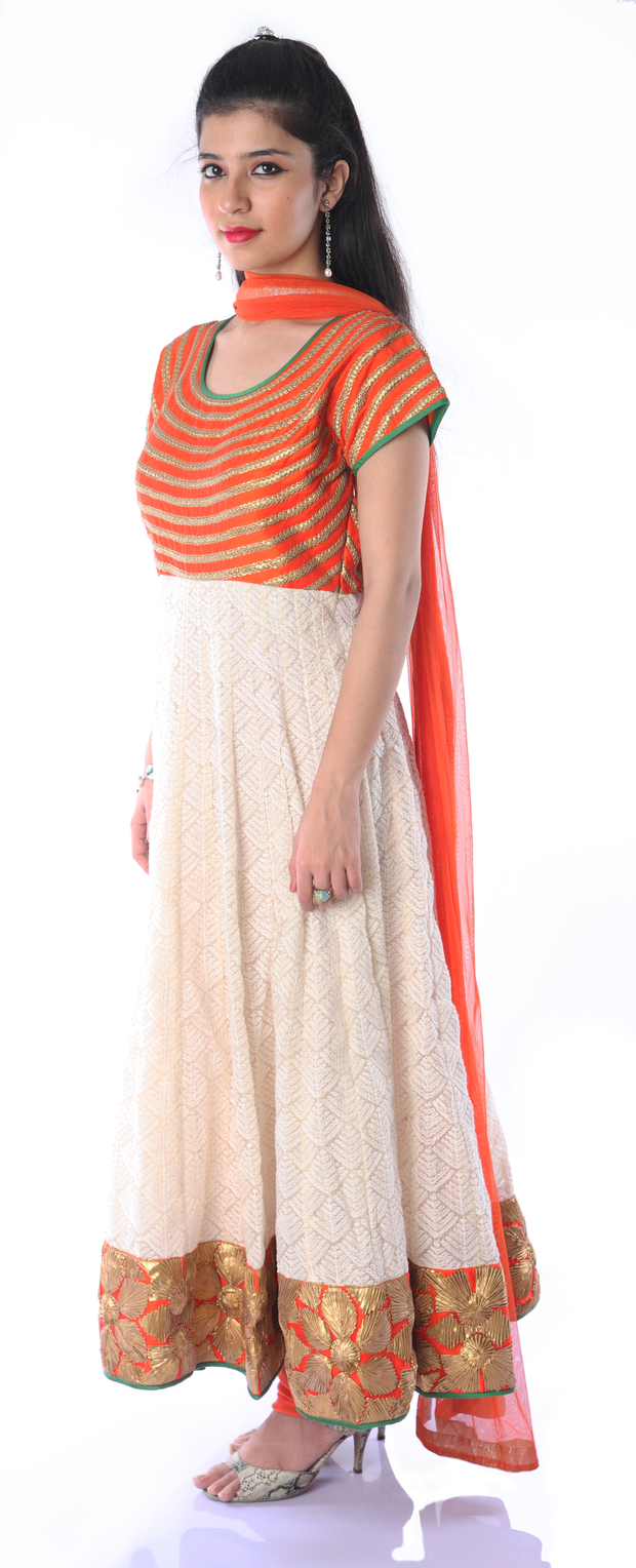 SIGNORAA ORANGE AND CREAM KOTA READY-TO-WEAR SALWAR SUIT-SLW03177- View 1
