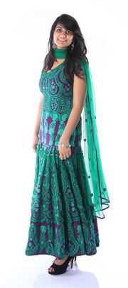 SIGNORAA PURPLE AND BOTTLE GREEN GEORGETTE READY-TO-WEAR SALWAR SUIT-SLW02780- View 1