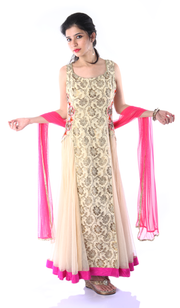 SIGNORAA BEIGE AND PINK NET READY-TO-WEAR SALWAR SUIT-SLW03055 - Cover View