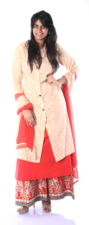 SIGNORAA IVORY AND RED COTTON READY-TO-WEAR SALWAR SUIT-SLW02786 - View 1