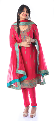 SIGNORAA RANI PINK GEORGETTE READY-TO-WEAR SALWAR SUIT-SLW02649 - View 1