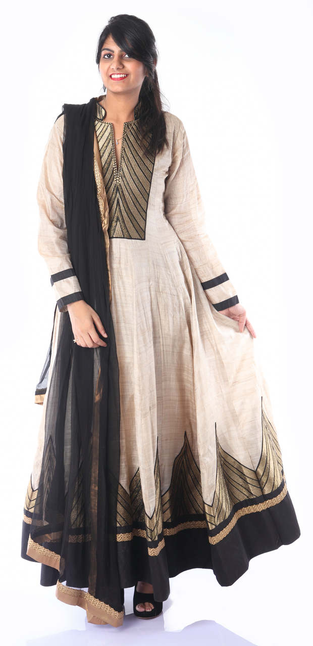SIGNORAA BLACK AND BEIGE TUSSAR READY-TO-WEAR SALWAR SUIT-SLW03178 - View 1