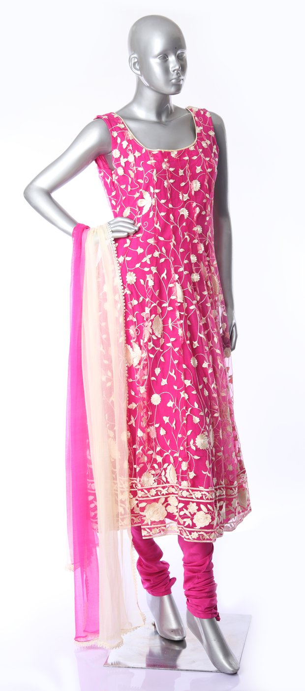 SIGNORAA PINK NET READY-TO-WEAR SALWAR SUIT-SLW02745- View 1