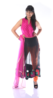 SIGNORAA BLACK AND PINK SILK/NET READY-TO-WEAR SALWAR SUIT-SLW03054A- View 1