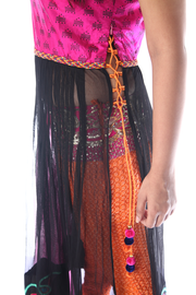 SIGNORAA BLACK AND PINK SILK/NET READY-TO-WEAR SALWAR SUIT-SLW03054A- View 2