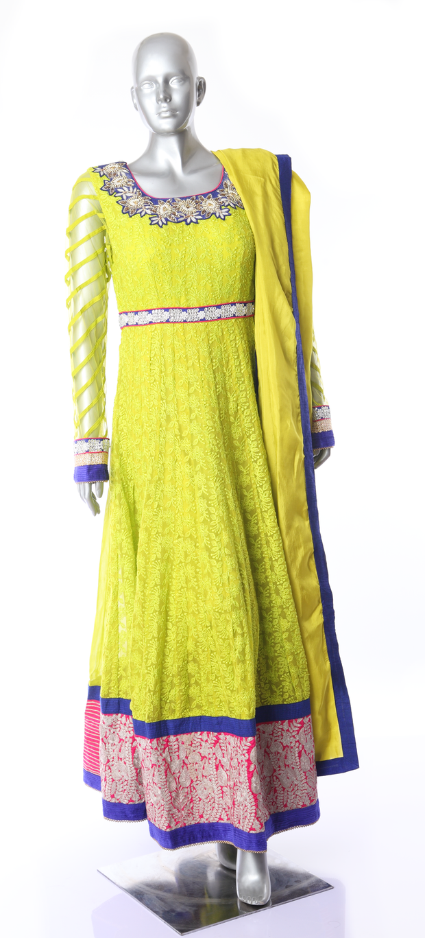 SIGNORAA GREEN GEORGETTE READY-TO-WEAR SALWAR SUIT-SLW03090 - View 1
