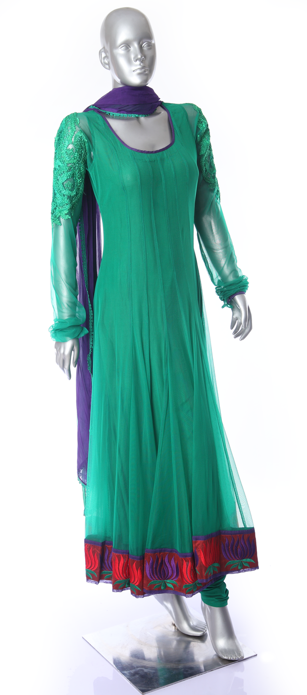 SIGNORAA BOTTLE GREEN NET READY-TO-WEAR SALWAR SUIT-SLW02788 - View 1