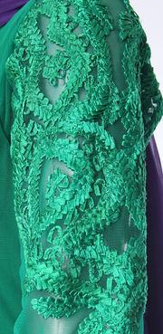 SIGNORAA BOTTLE GREEN NET READY-TO-WEAR SALWAR SUIT-SLW02788 - Design View