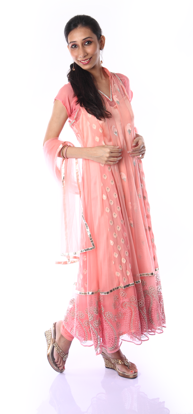 SIGNORAA PEACH NET READY-TO-WEAR SALWAR SUIT-SLW02926 - View 1