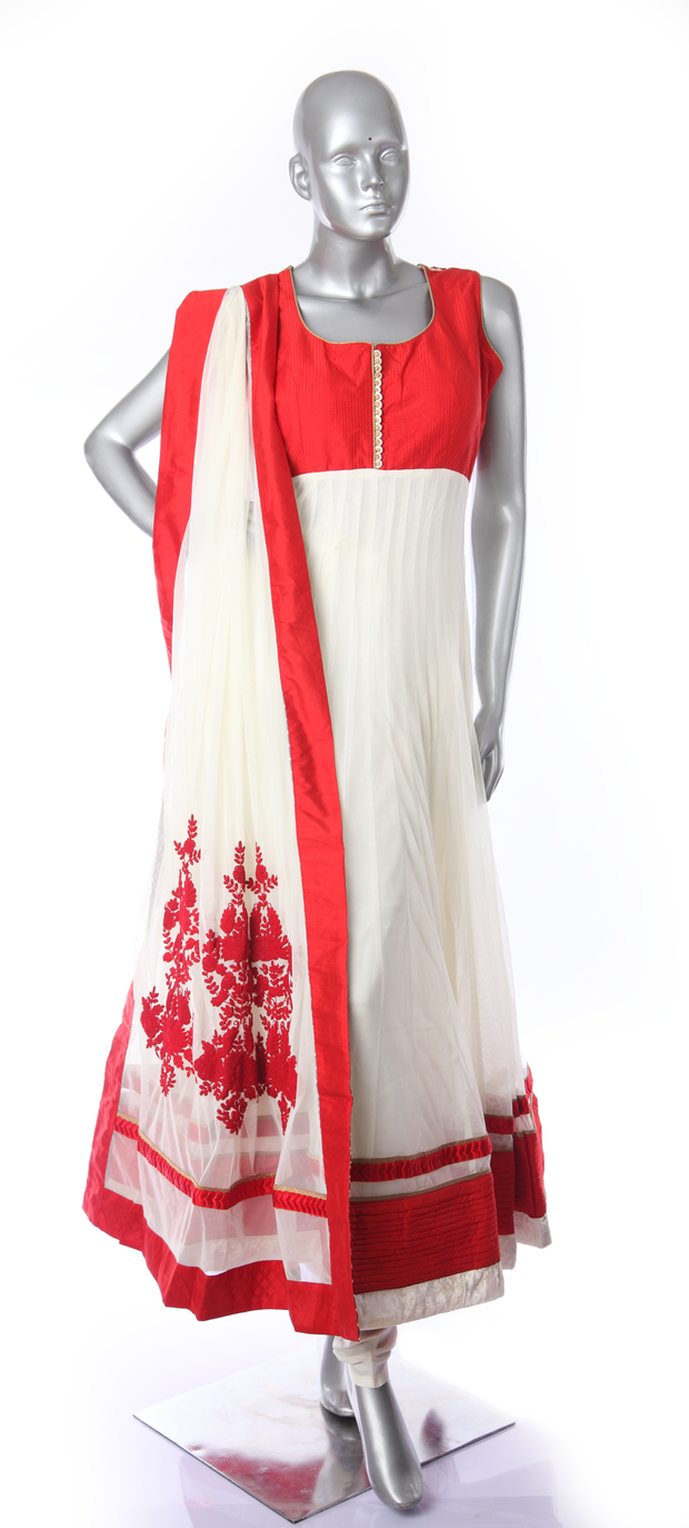 SIGNORAA OFF WHITE AND RED NET READY-TO-WEAR SALWAR SUIT-SLW03115 - VIEW 1