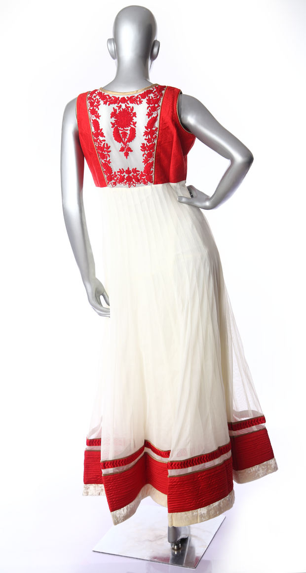 SIGNORAA OFF WHITE AND RED NET READY-TO-WEAR SALWAR SUIT-SLW03115 - VIEW 2
