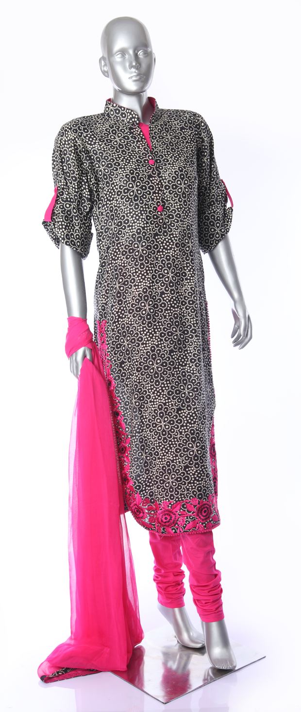 SIGNORAA BLACK COTTON READY-TO-WEAR SALWAR SUIT-SLW02791- View 1