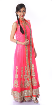 SIGNORAA NEON PINK NET READY-TO-WEAR SALWAR SUIT-SLW03084- View 1