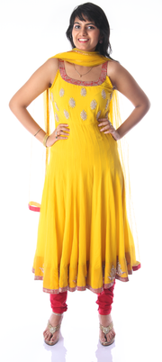 Signoraa Yellow Georgette Semi Stitched Salwar Suit-SMS05766 - View 1