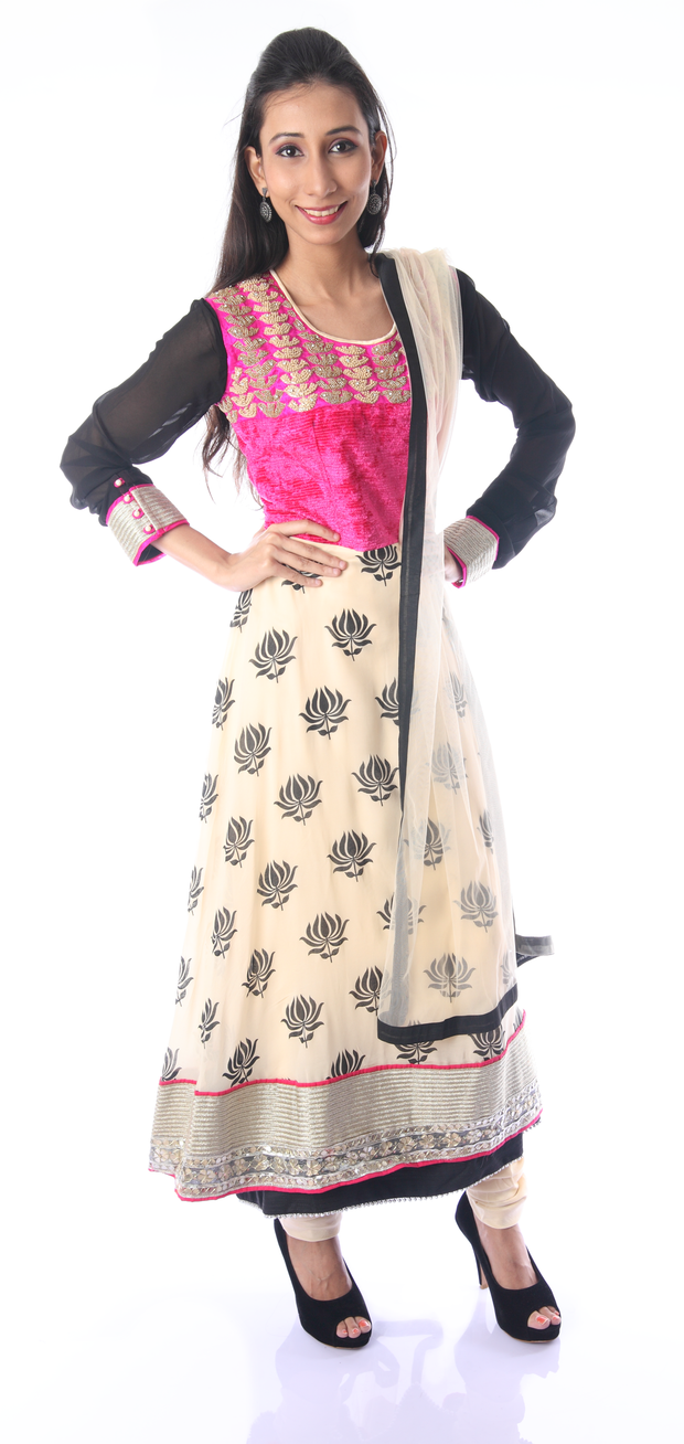 SIGNORAA OFF-WHITE AND PINK GEORGETTE READY-TO-WEAR SALWAR SUIT-SLW03188 - View 1