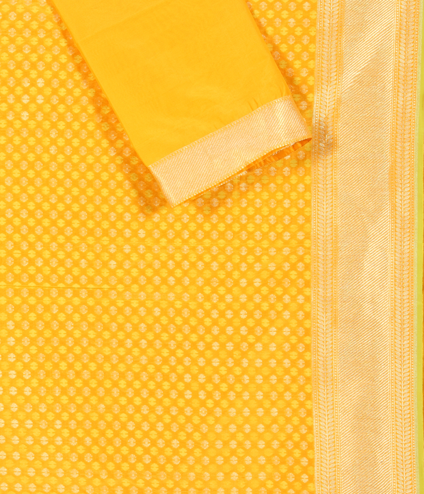 SIGNORAA YELLOW BANARASI GEORGETTE SILK SAREE-BSK04989 - Product View 2