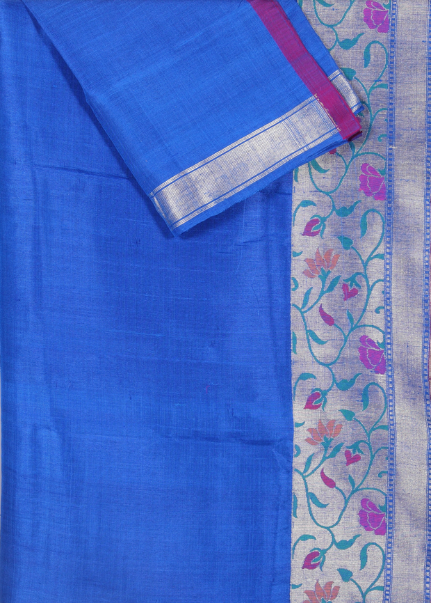 SIGNORAA ROYAL BLUE BANARASI TUSSAR SILK-BSK04620 - Product View 2