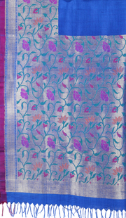 SIGNORAA ROYAL BLUE BANARASI TUSSAR SILK-BSK04620 - Product View 1