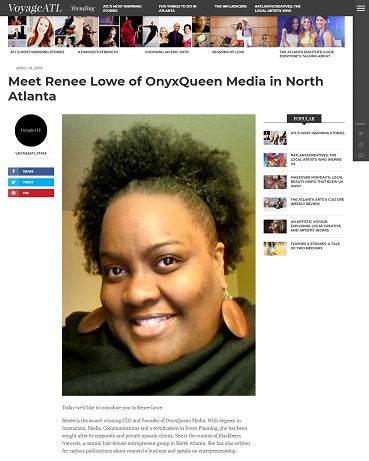 OnyxQueen Media CEO is featured in Voyage ATL Magazine