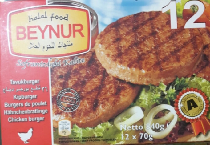 Beynur Chicken Burger 12*70g
