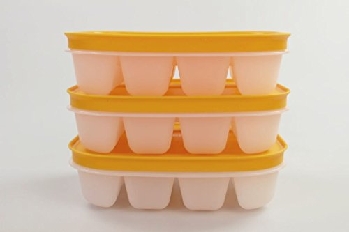 TUPPERWARE freezer container ice cube maker (3) orange with lid mini