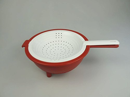 TUPPERWARE kitchen gadgets strainer Saladin red-white strainer