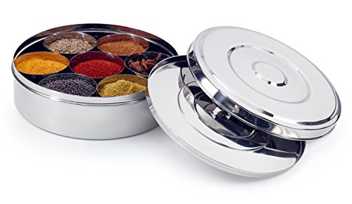Zinel Spice Tray / Masala Dabba with 7 bowls and 2 stainless steel lids, 24 cm