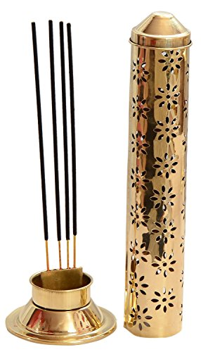 Odishabazaar Agarbatti incense sticks stand, brass gold colored, 26 x 7.6 x 5.2 cm