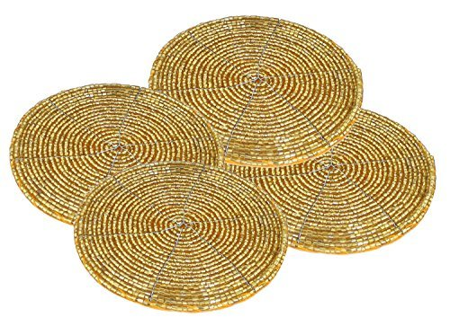 4 set Handmade Coasters Antique Gold Beads Small Kitchen Coasters - 10 cm