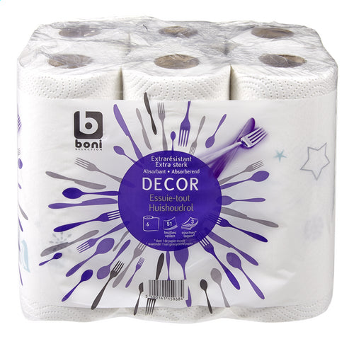 BONI SELECTION kitchen roll Decor 3L 51v 6 ROLLS