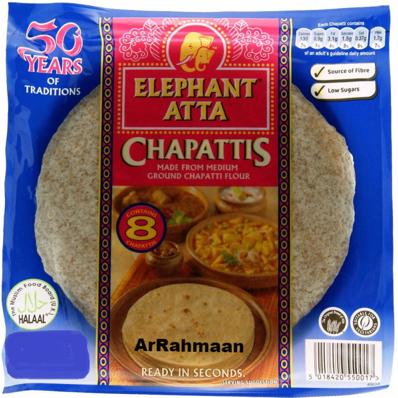 Elephant Atta (wheat flour) Chapati, 8pcs