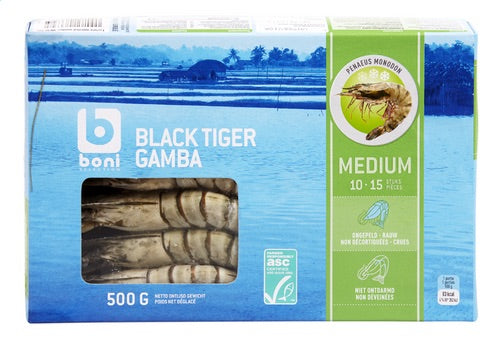 BONI Selection black tiger gamba prawns medium 500g
