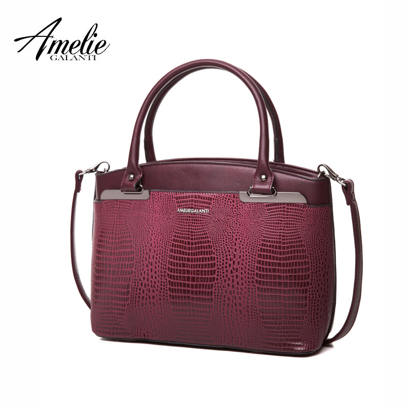 AMELIE GALANTI Famous Brand Women Handbag Saffiano High Quality PU Shoulder Messenger Bags Serpentine Zipper Sequined Fashion