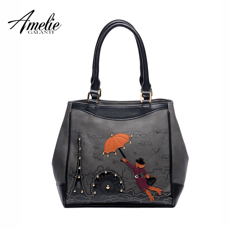 AMELIE GALANTI 2017 women casual Handbags famous designer  women Totes Handmade Embroidery Cartoon brand fashion top-handle bag