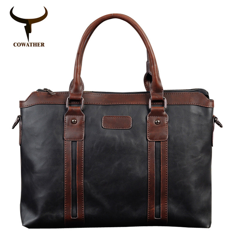 COWATHER top quality 2017 fashion men messenger vintage bags Packet PU bag men coffee black handbags for men free shipping