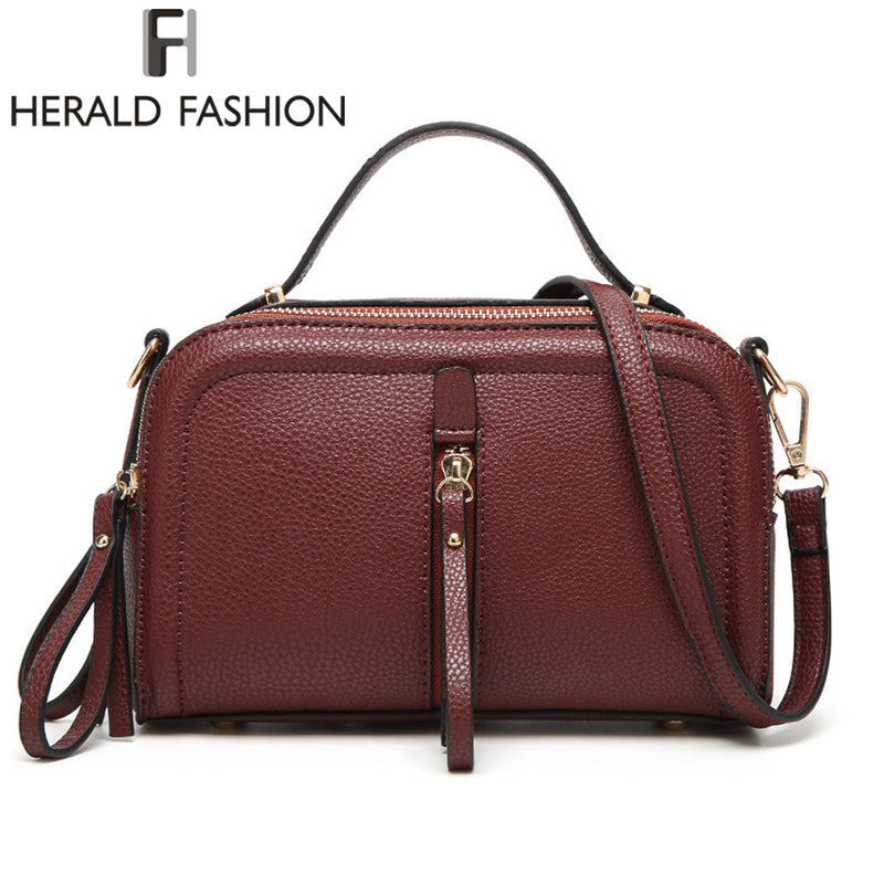 Herald Fashion Messenger Bag PU Leather Solid Color Women Shoulder Bags Zipper Small Flap Bag Shoulder Crossbody Bag Girls