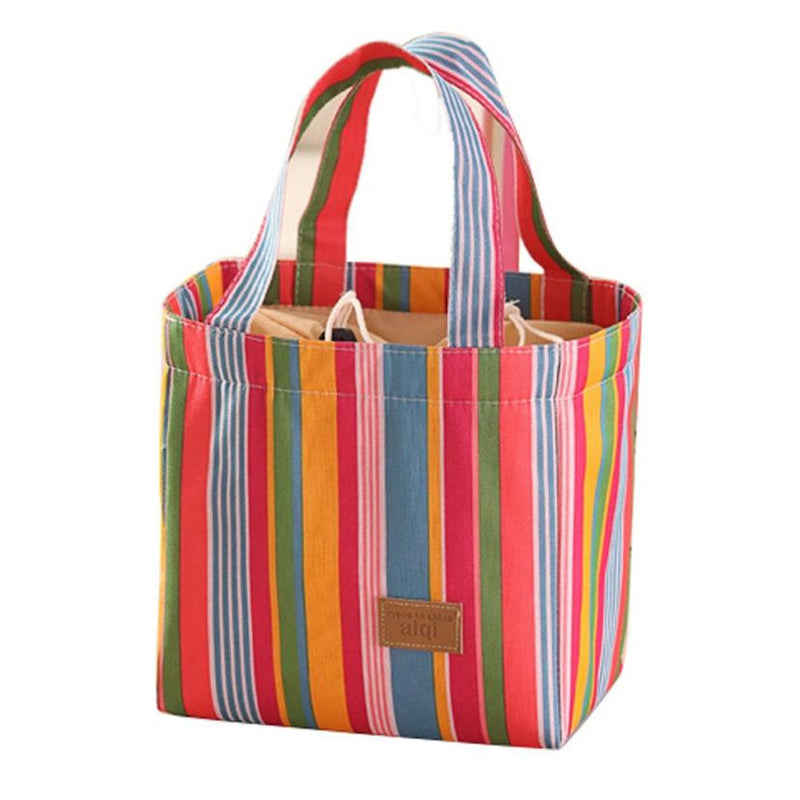Women Cooler Bag Lunch Bag Colorful Stripe Inner Aluminum Foil  Men Organizer Food Container Women Lunch Box bolsa feminina #25
