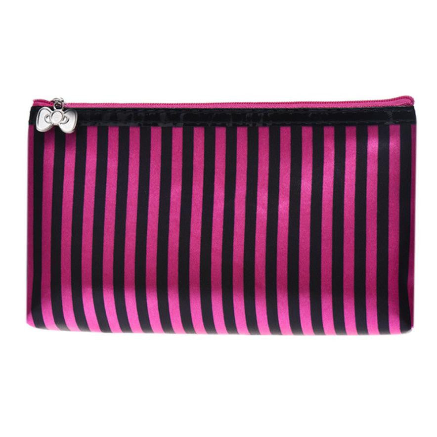 Xiniu 2017 new fashion women wallets female cards holder Stripe Portable Storage Makeup Bag #6M