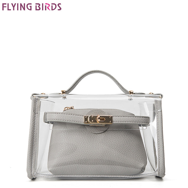 FLYING BIRDS Design Clutch Women Handbags Mini Women Messenger Bags Transparent Jelly Bag Europe and America lock Composite Bag