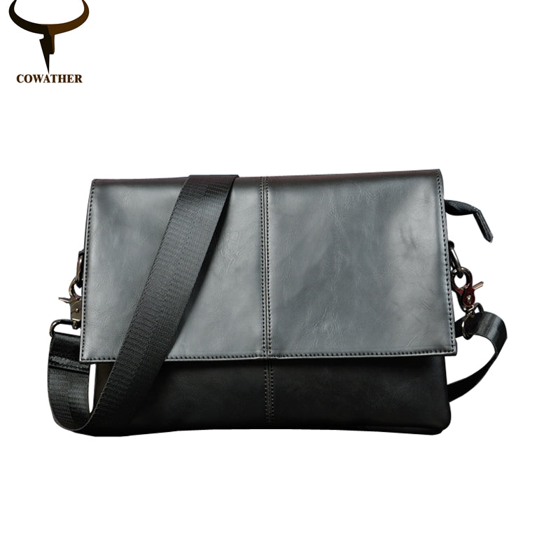 COWATHER 2016 fashion pu leather  three pockets messenger bags for men big capacity single shoulder mens bag original brand